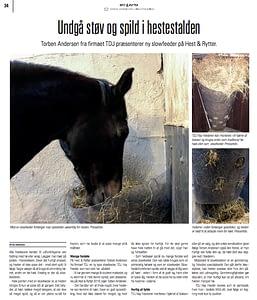 Artikel om TDJ Hayfeeders fra Hest og rytter 2018